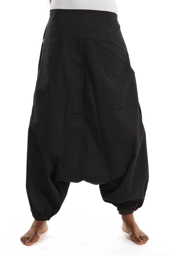 Sarouel large mixte de couleur noir en coton léger du Népal Likox 305512