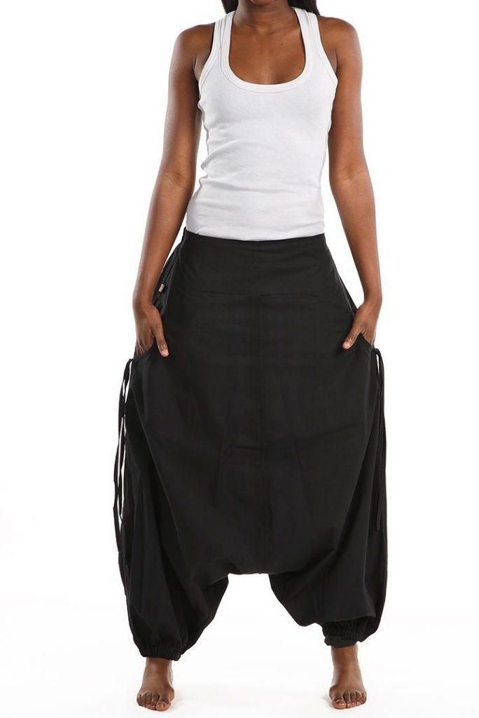 Sarouel large mixte de couleur noir en coton léger du Népal Likox 305513
