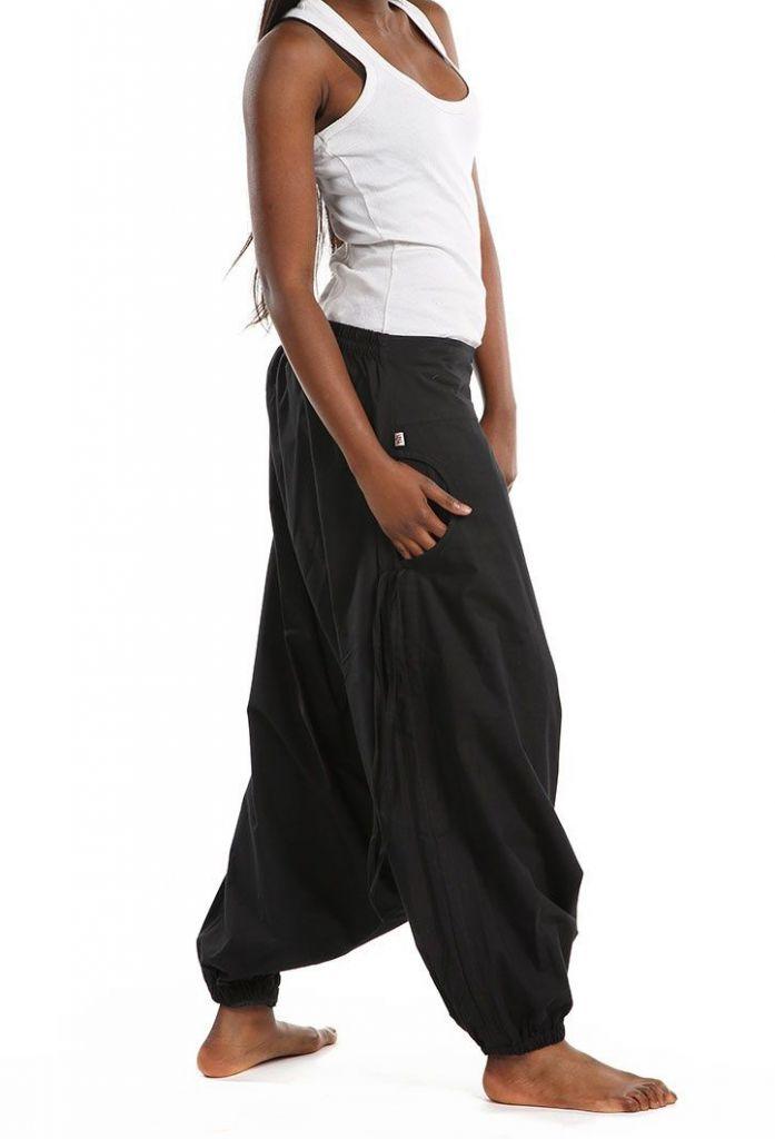 Sarouel large mixte de couleur noir en coton léger du Népal Likox 305515