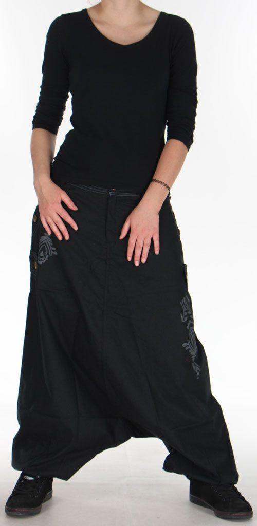 Sarouel Mixte à fourche basse Ethnique et Coloré Jasper Noir 275382