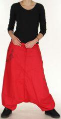 Sarouel Mixte à fourche basse Ethnique et Coloré Jasper Rouge 275384
