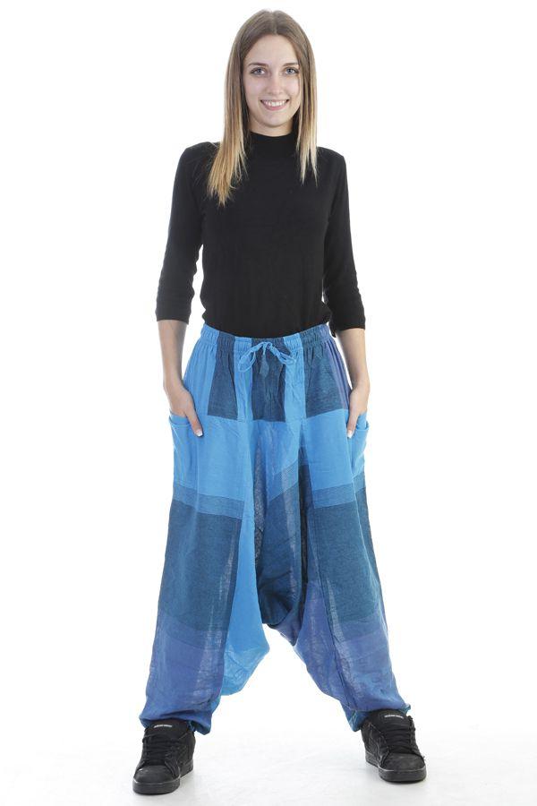 Sarouel mixte baba cool en 100 % coton avec imprimés bleu Melilou 305097