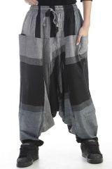 Sarouel mixte baba cool en 100 % coton avec imprimés noir Melilou 305120