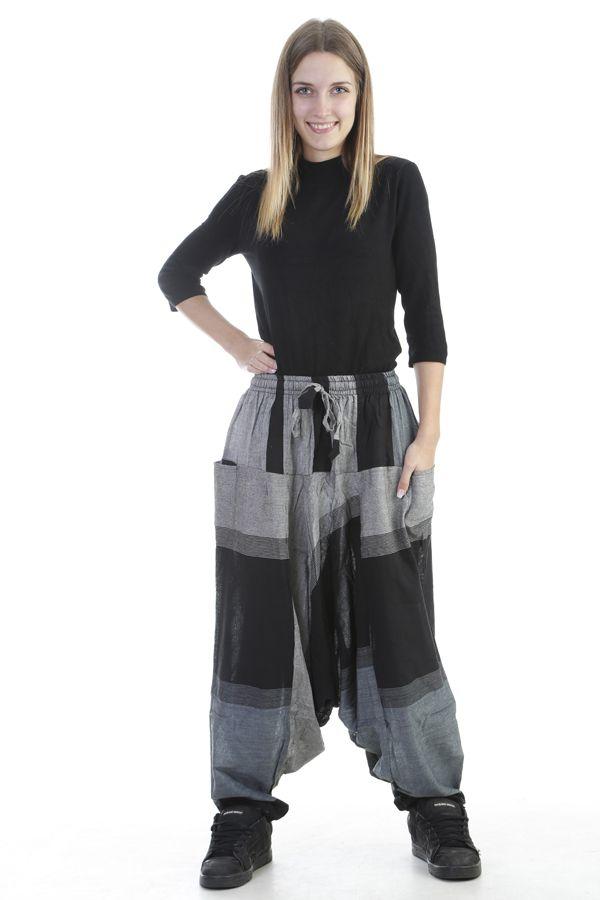 Sarouel mixte baba cool en 100 % coton avec imprimés noir Melilou 305121