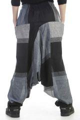 Sarouel mixte baba cool en 100 % coton avec imprimés noir Melilou 305122