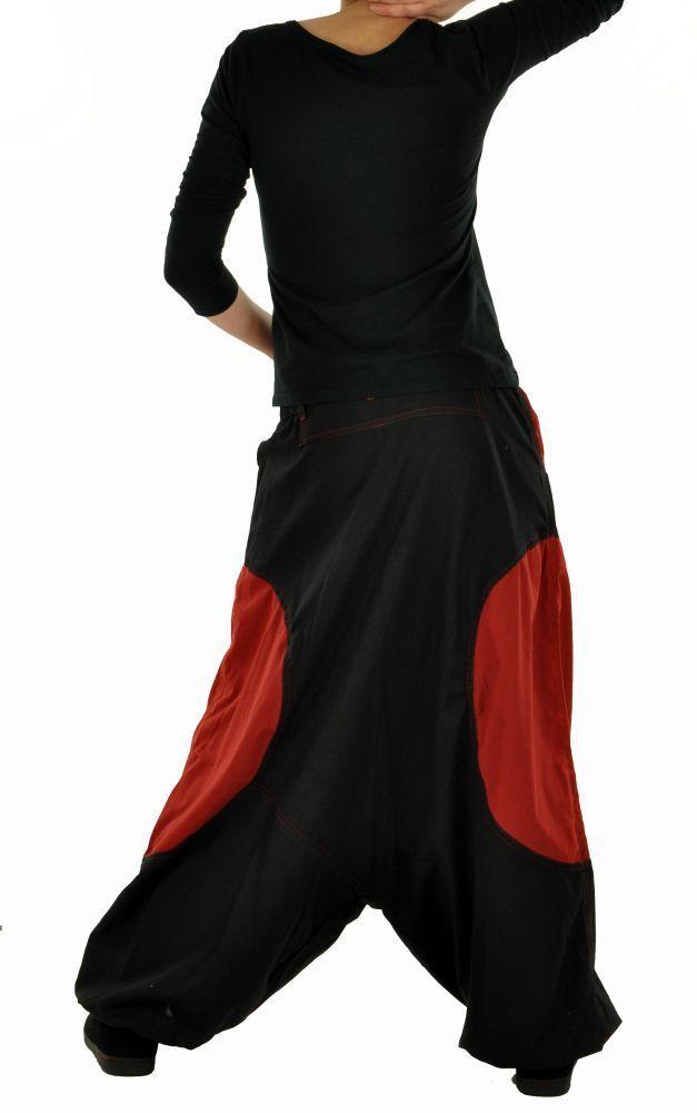 Sarouel mixte baba mikoh noir et rouge 255043
