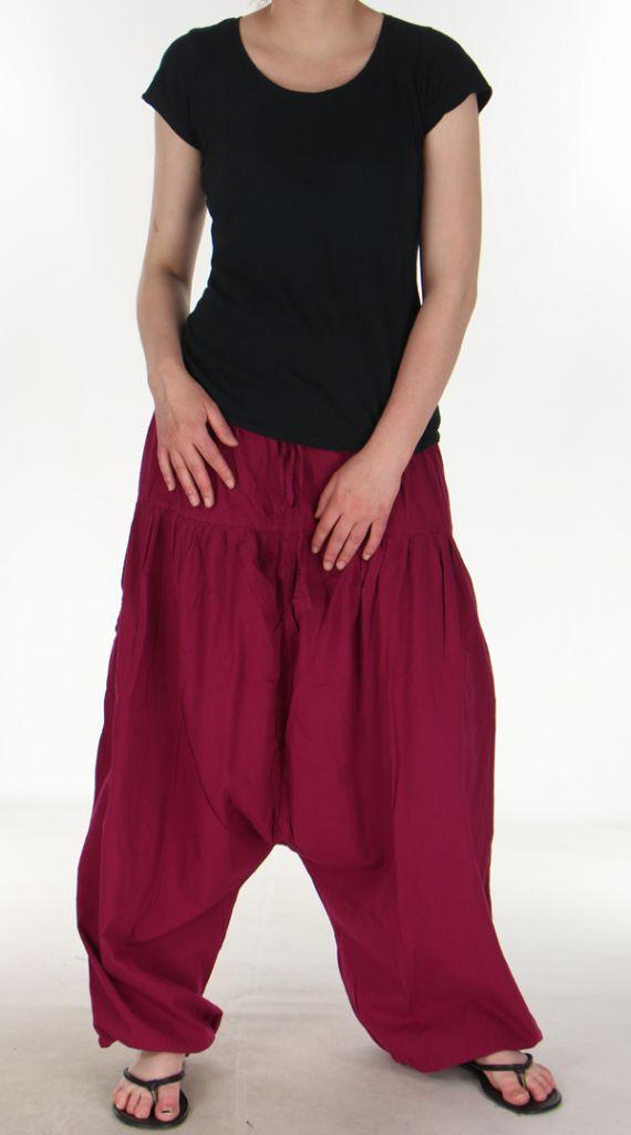 Sarouel Mixte Fushia à fourche basse Ethnique idéal Yoga Stephan 285253
