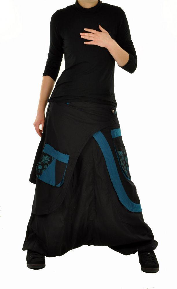 Sarouel mode ethnique halaoa noir et bleu 244951