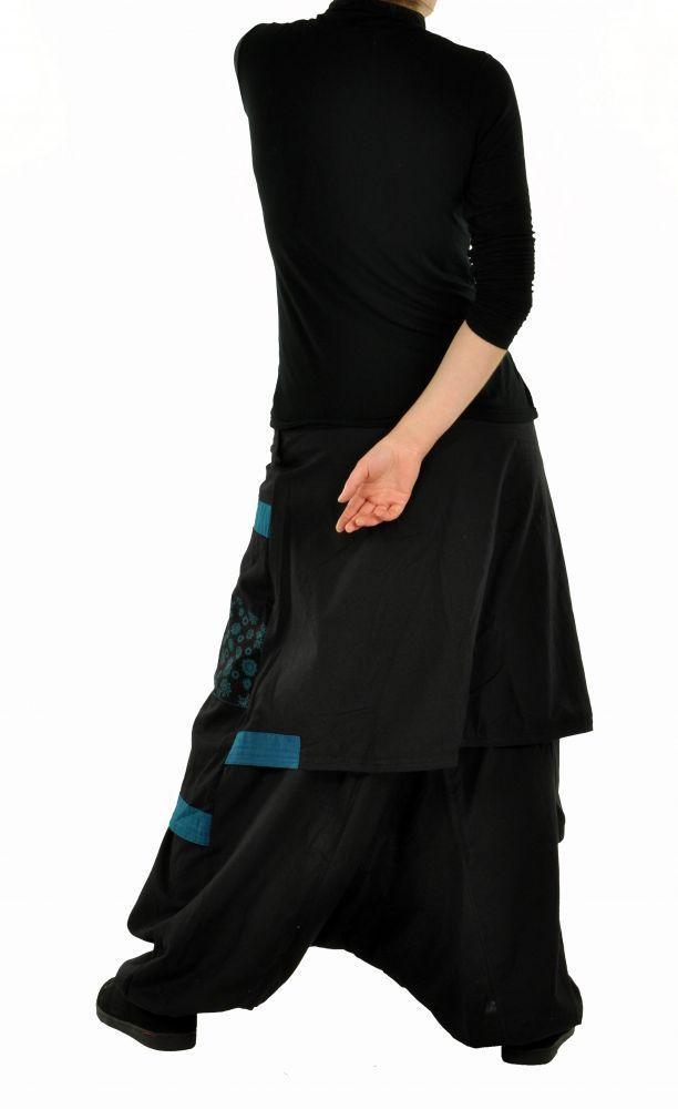 Sarouel mode ethnique halaoa noir et bleu 255010
