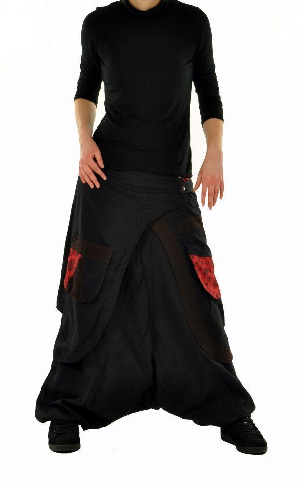 Sarouel mode ethnique halaoa noir et rouge 244950