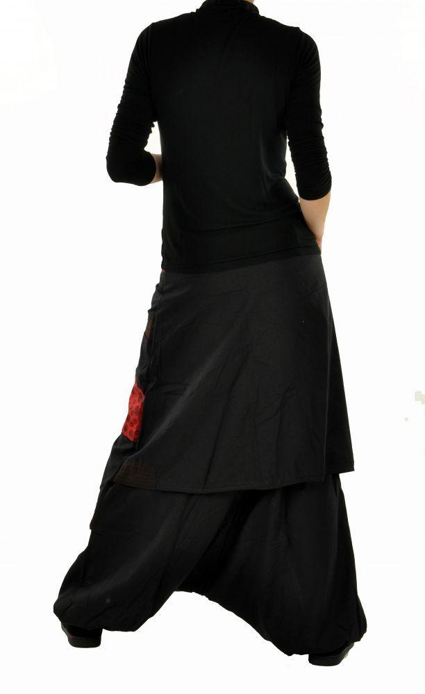 Sarouel mode ethnique halaoa noir et rouge 255009