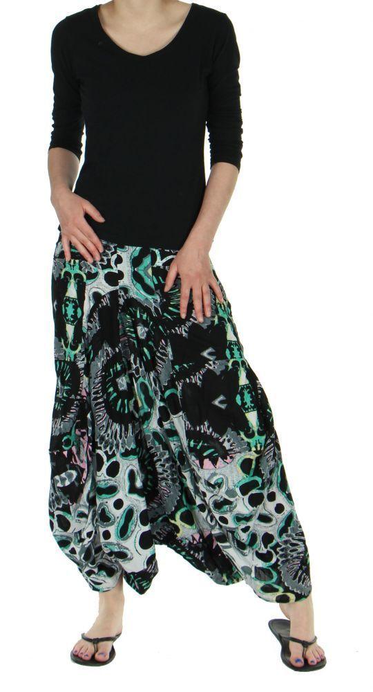 Sarouel mode ethnique imprimé vanuatu noir 245787