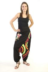 Sarouel noir à fourche basse et motifs colorés 287783