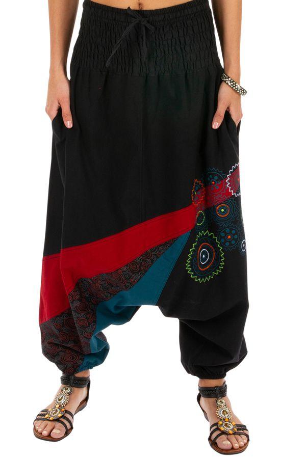 Sarouel noir aux imprimés colorés et ethniques Allada 313599