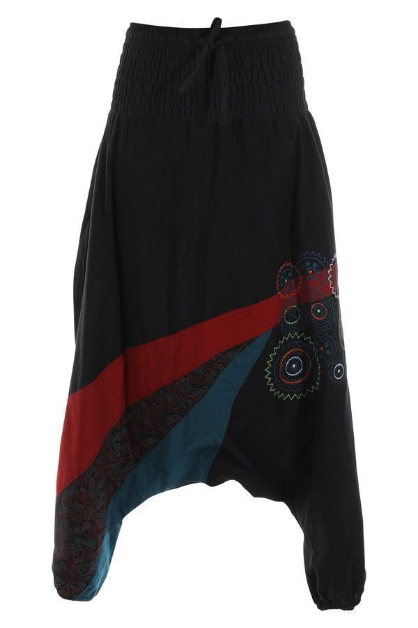 Sarouel noir aux imprimés colorés et ethniques Allada 315017