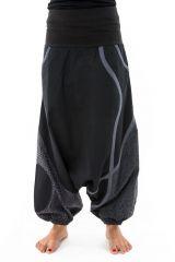 Sarouel noir mixte original en coton épais pour l'hiver Kinou 304656