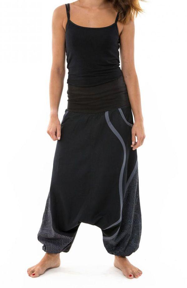 Sarouel noir mixte original en coton épais pour l'hiver Kinou 304657