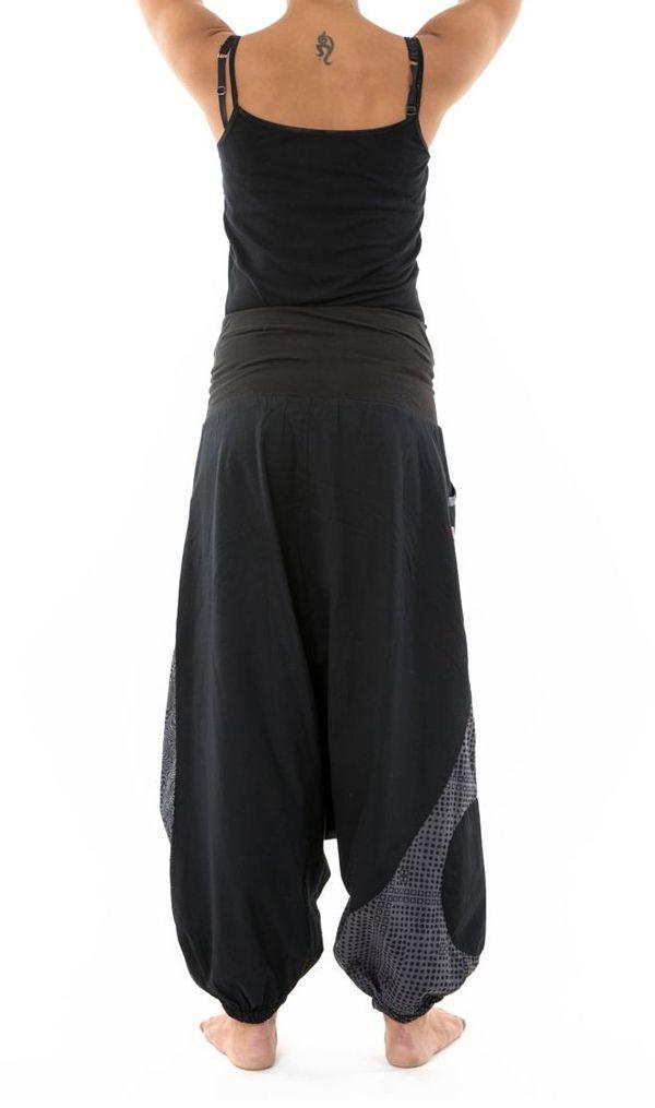 Sarouel noir mixte original en coton épais pour l'hiver Kinou 304658