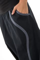 Sarouel noir mixte original en coton épais pour l'hiver Kinou 304660