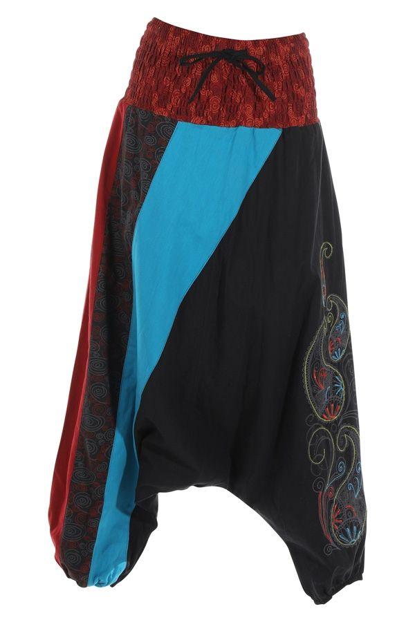 Sarouel noir très féminin et ethnique imprimé Mekele 315025