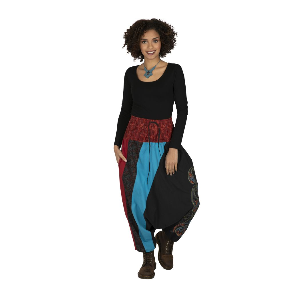 Sarouel noir très féminin et ethnique imprimé Mekele 323318