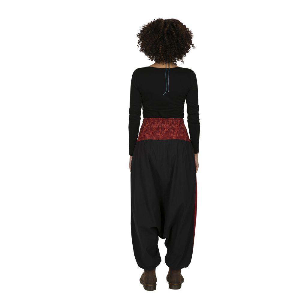 Sarouel noir très féminin et ethnique imprimé Mekele 323319