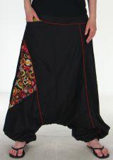 Sarouel noire avec motifs ethniques multicolores Lany 290557