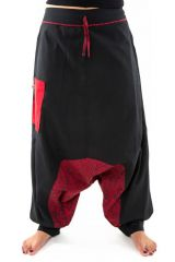 Sarouel original à imprimés psychédélique noir et rouge Fada 303091