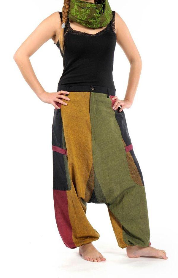 Sarouel Original en coton style reggae vert, jaune, rouge Jama 303072