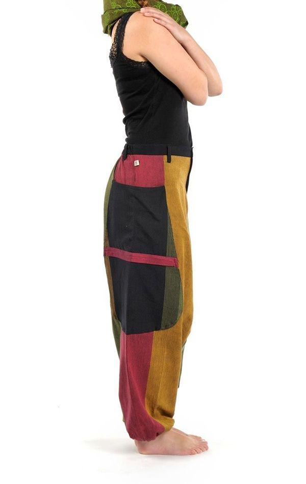 Sarouel Original en coton style reggae vert, jaune, rouge Jama 303073