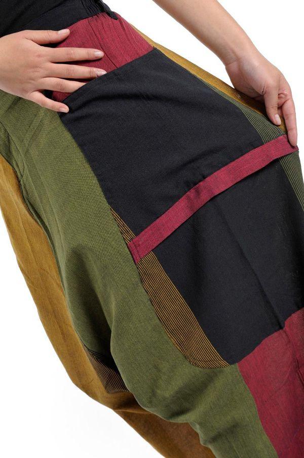 Sarouel Original en coton style reggae vert, jaune, rouge Jama 303075