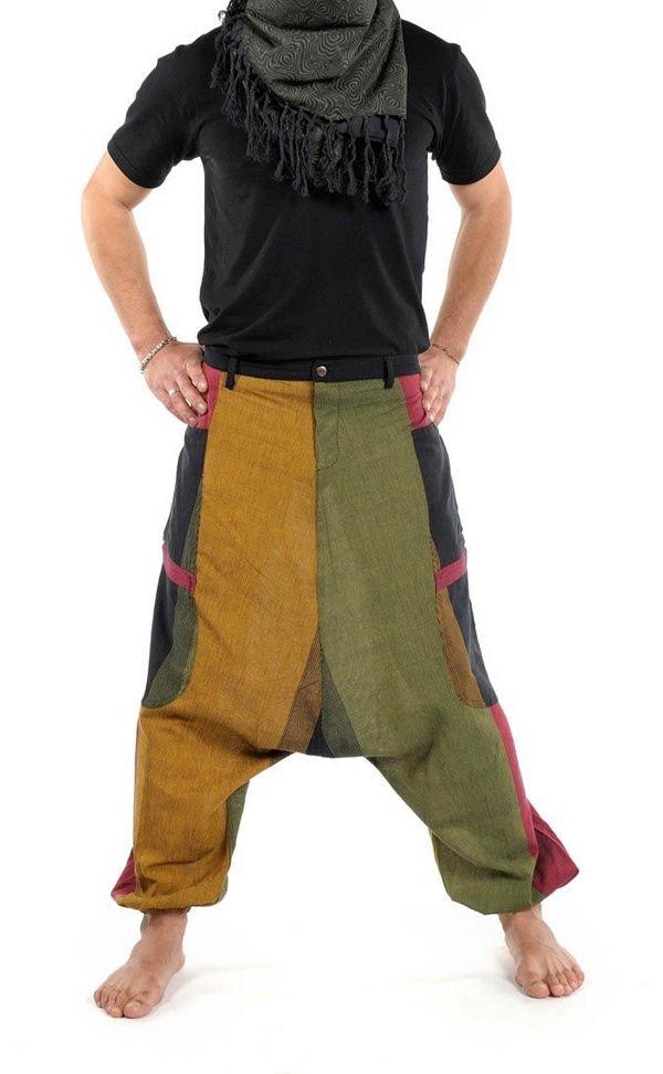 Sarouel Original en coton style reggae vert, jaune, rouge Jama 303076