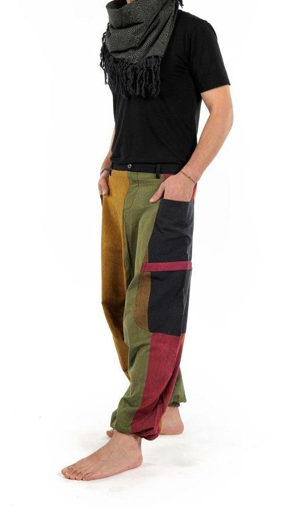 Sarouel Original en coton style reggae vert, jaune, rouge Jama 303077