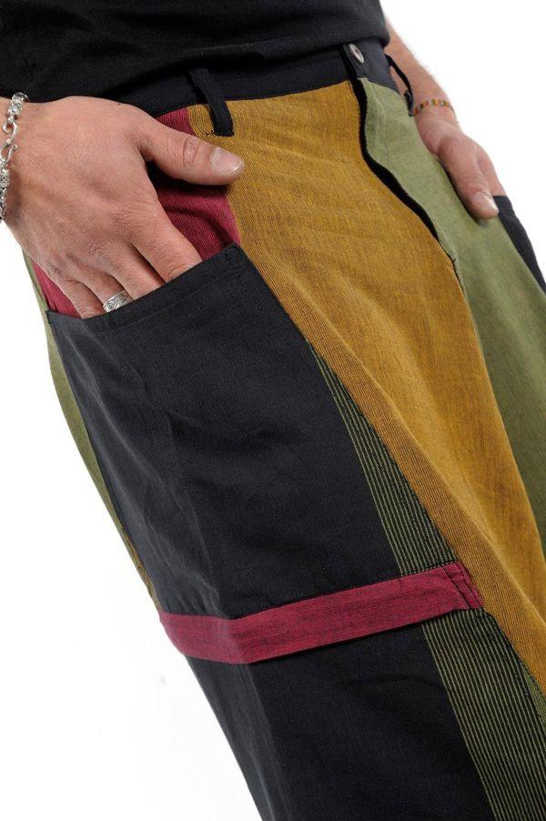 Sarouel Original en coton style reggae vert, jaune, rouge Jama 303078