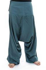 Sarouel original et pas cher en coton uni gris-bleu Dinala 302974