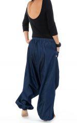 Sarouel original et tendance en jean denim bleu Jinna 303109