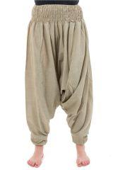 Sarouel pantalon élastique uni en coton épais chanvre Noulie 302810