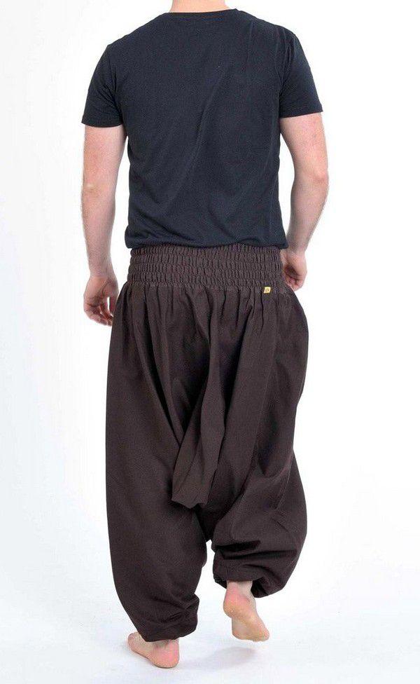 Sarouel pantalon élastique uni en coton épais marron Noulie 302801