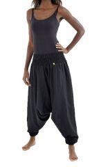 Sarouel pantalon élastique uni en coton épais noir Noulie 302757