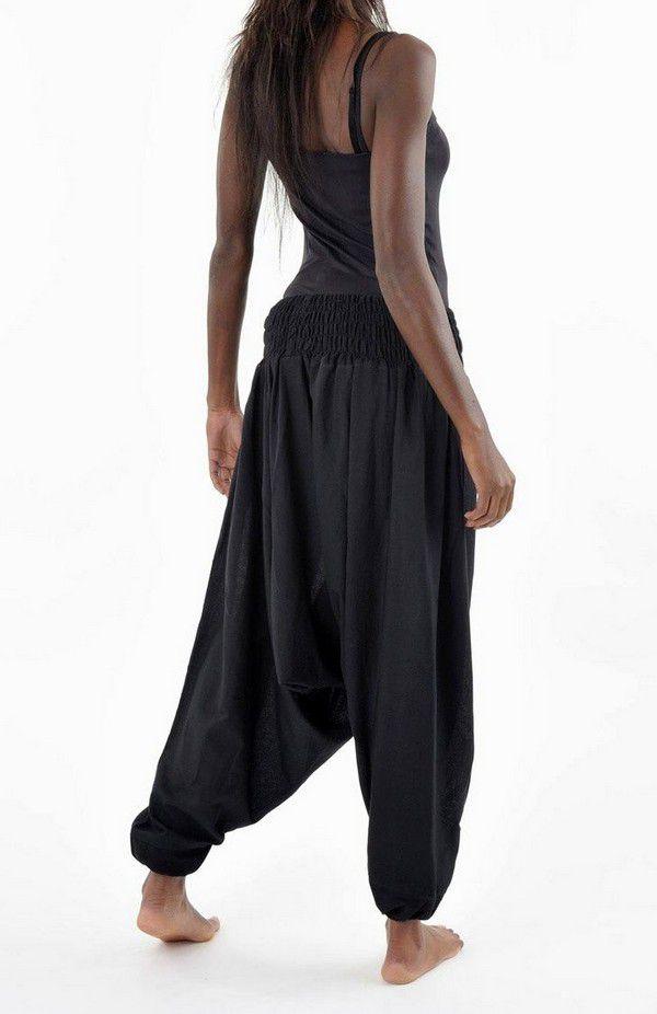 Sarouel pantalon élastique uni en coton épais noir Noulie 302758