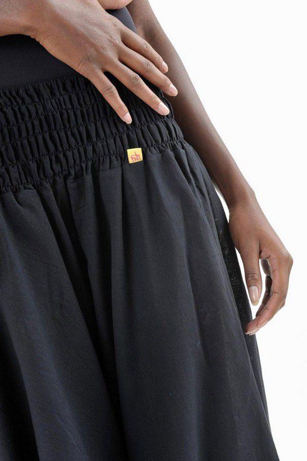 Sarouel pantalon élastique uni en coton épais noir Noulie 302759