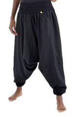 Sarouel pantalon élastique uni en coton épais noir Noulie 302779
