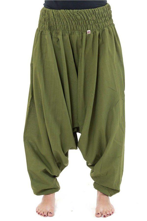 Sarouel pantalon élastique uni en coton épais vert kaki Noulie 302782