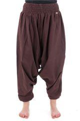 Sarouel pantalon élastique uni en coton léger du Népal chocolat Liow 302812