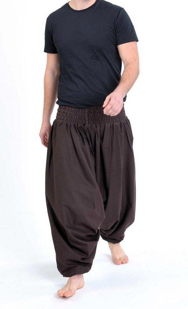 Sarouel pantalon élastique uni en coton léger du Népal chocolat Liow 302813
