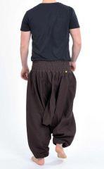 Sarouel pantalon élastique uni en coton léger du Népal chocolat Liow 302814