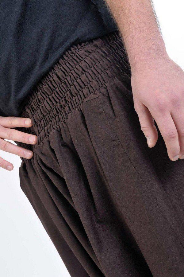 Sarouel pantalon élastique uni en coton léger du Népal chocolat Liow 302815