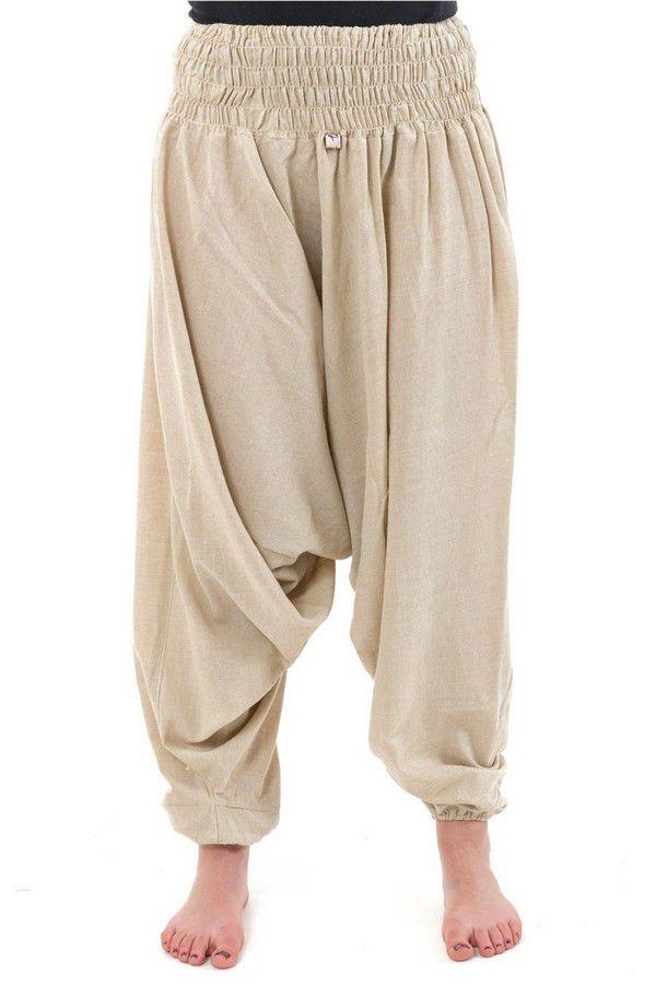 Sarouel pantalon élastique uni en coton léger du Népal crème Liow 302805