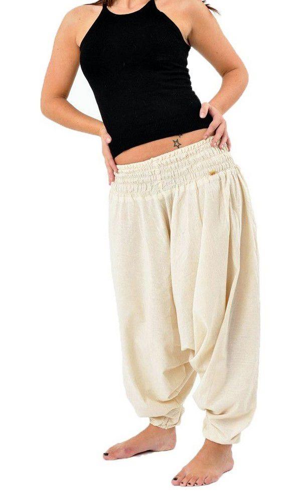 Sarouel pantalon élastique uni en coton léger du Népal crème Liow 302806