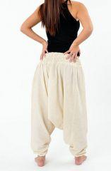 Sarouel pantalon élastique uni en coton léger du Népal crème Liow 302807